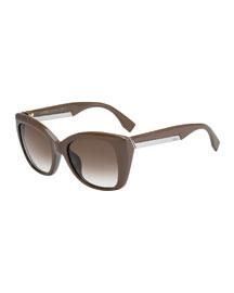Angled Sunglasses, Mudbrown Gray