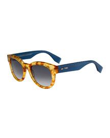 Rounded Enamel Sunglasses, Havana/Blue