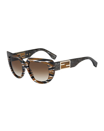 Striped Square & Variegated Sunglasses, Tobacco Brown
