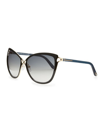 Celia Metal Cat-Eye Sunglasses, Black