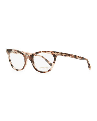 Slight Cat-Eye Fashion Glasses, Dark Red Tortoise