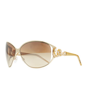 Bellatrix Round Jeweled Snake-Temple Sunglasses, Rose/Brown