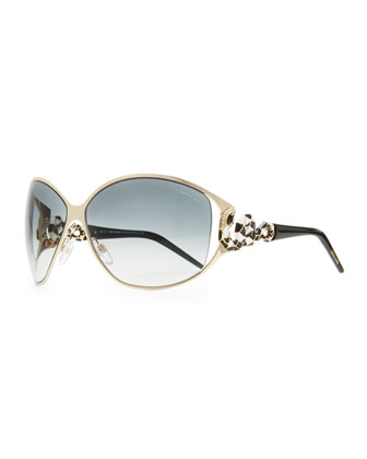 Round Jeweled Snake-Temple Sunglasses, Rose/Blue