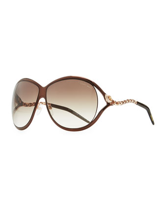 Round Metal Serpent-Temple Sunglasses, Brown