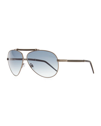 Kaitos Metal Aviator Sunglasses, Silver/Blue