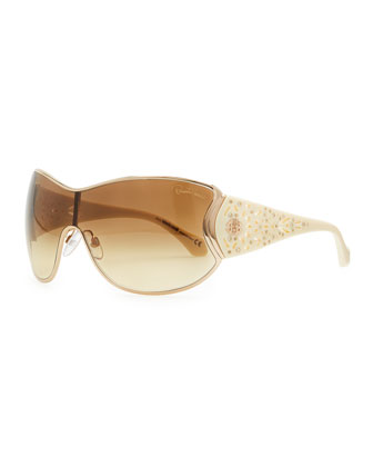 Metal Shield Sunglasses with Lattice, Rose Golden