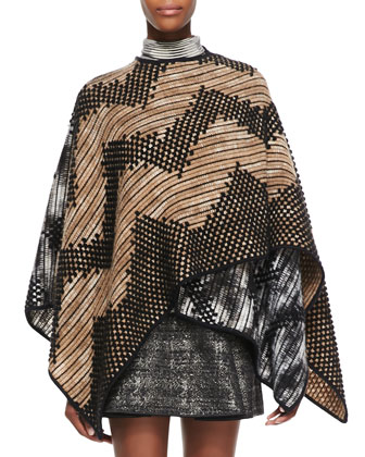 Zigzag Patterned Mantle Cape, Tan/White/Black