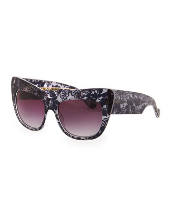 Alice Goes to Cannes Lace-Print Sunglasses