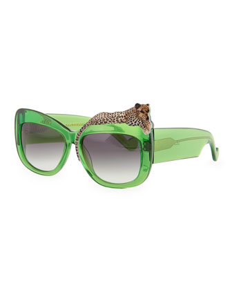 Rose et la Mer Leopard Sunglasses, Green