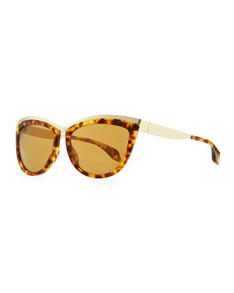 Colorblock Cat-Eye Sunglasses, Brown Tortoise/Gold