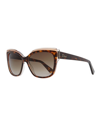 Colorblock Cat-Eye Sunglasses, Tortoise/Transparent