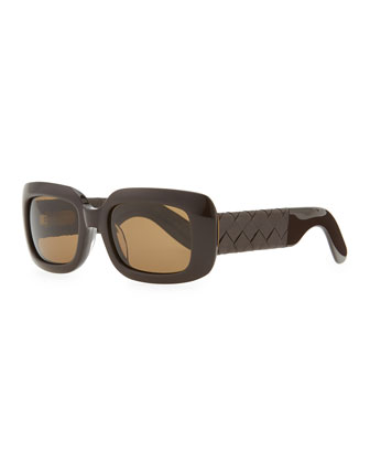 Square Sunglasses with Intrecciato Leather Arms, Brown