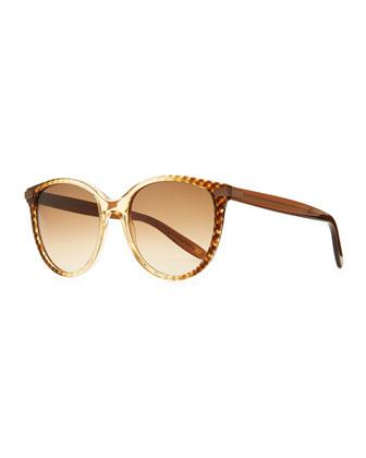 Matte-Temple Round Sunglasses, Dark Gray