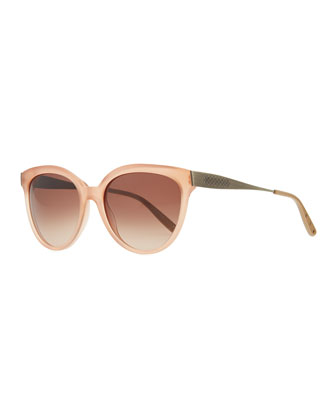 Transparent-Lens Tapered-Etched-Arm Sunglasses, Pink