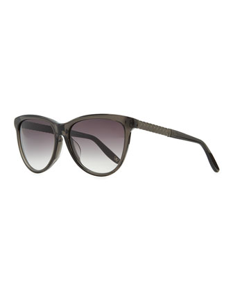 Intrecciato-Arm Acetate Sunglasses, Dark Gray