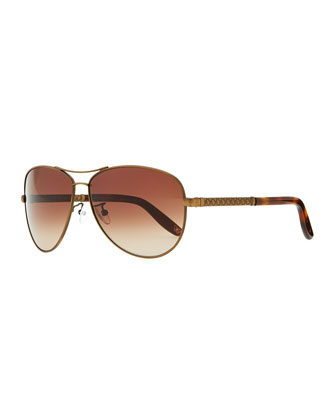 Metal Aviator Sunglasses with Intrecciato, Golden