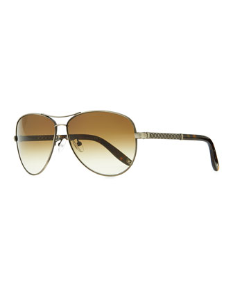 Metal Aviator Sunglasses with Intrecciato, Silvertone