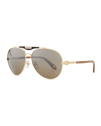 Shiny Aviator Sunglasses with Flash Lens, Golden