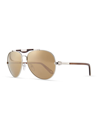 Shiny Aviator Sunglasses with Flash Lens, Silvertone