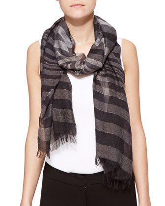 Metallic Stripe Scarf, Dark Gray