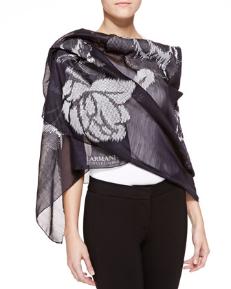 Rose Fil Coupe Scarf, Navy