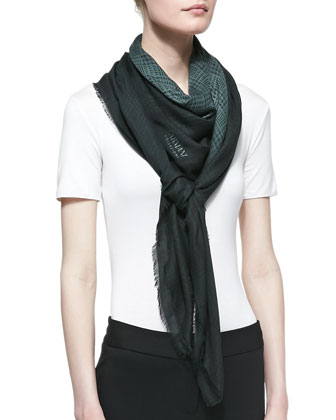 Ombre Plaid Scarf, Dark Green