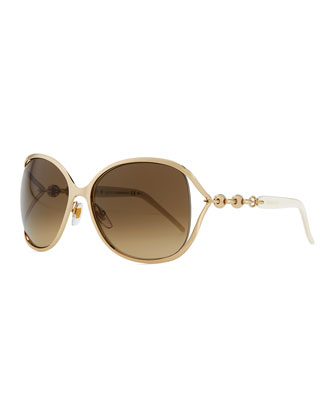 Metal Sunglasses with Chain, Gold/White