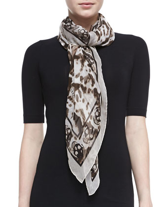 Animal-Print Silk Chiffon Scarf, Ivory/Brown