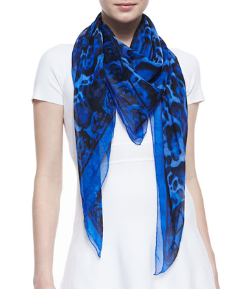 Animal-Print Silk Chiffon Scarf, Blue/Black