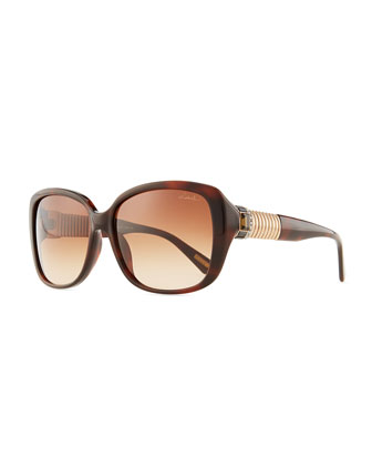 Shiny Square Sunglasses with Crystal Temples, Brown