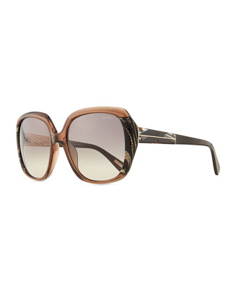 Oversized Transparent Sunglasses, Brown/Gray