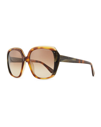 Oversized Shiny Gradient Sunglasses, Brown/Multi