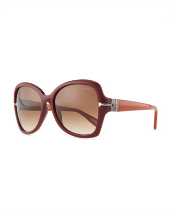 Butterfly Gradient Sunglasses, Red-Brown