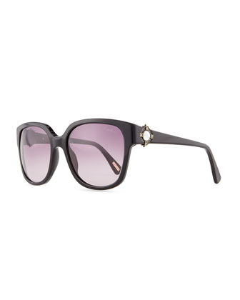 Resin Sunglasses with Mother-of-Pearl, Black/Gray