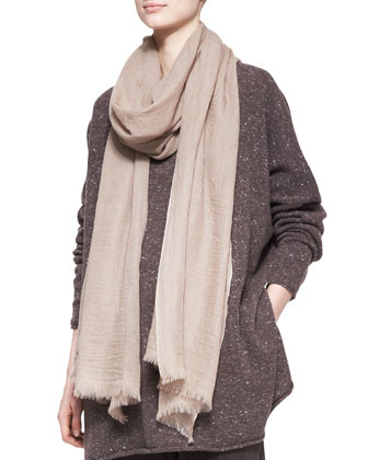 Fine Large Cashmere Scarf, Natural