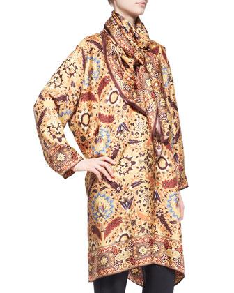 Mughal Garden Square Silk Scarf, Gold