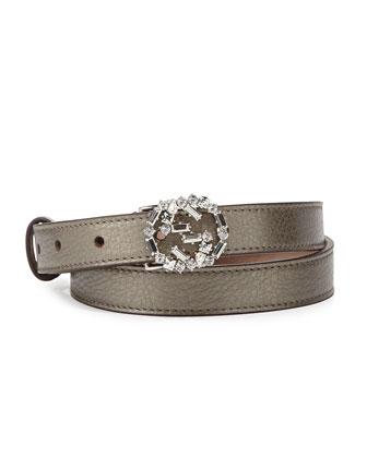 Crystal-GG-Buckle Skinny Belt