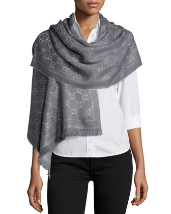 Shimmery GG Pattern Scarf, Silver