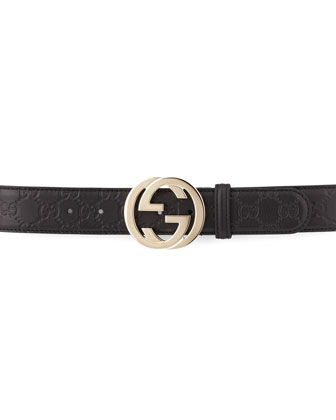 G-Adjustable Logo Leather Belt, Black