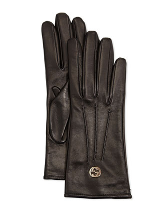 Classic Leather Driving Gloves, Black