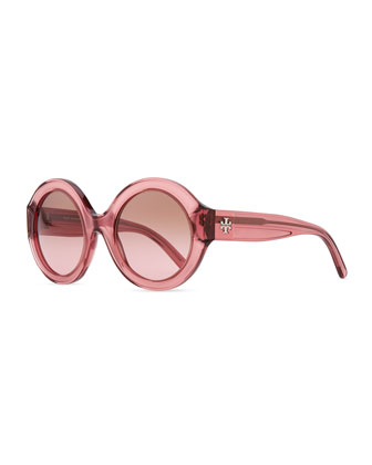 Round Plastic Sunglasses, Rose