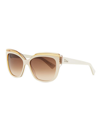 Colorblock Cat-Eye Sunglasses, Ivory/Orange/Pink