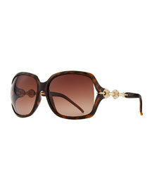 Large Sunglasses with Logo Arm, Brown