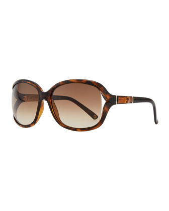 Large Sunglasses with Bamboo Arm, Brown