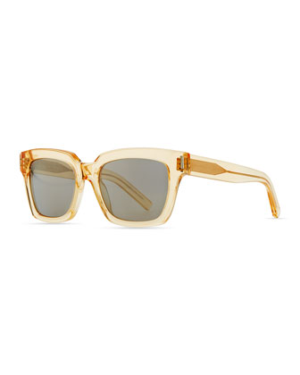 Bold Transparent Square Sunglasses, Yellow