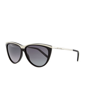 Metal-Brow Cat-Eye Sunglasses, Black