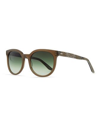 Baez Squared Sunglasses, Mocha/Snake