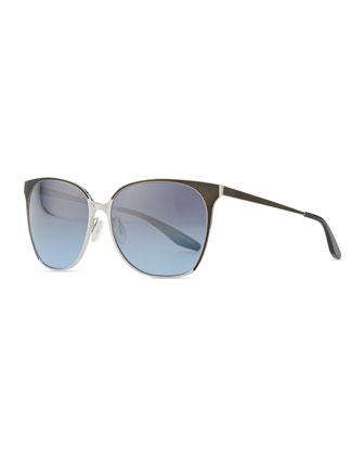 Edie Metal/Enamel Sunglasses, Silver/Blue