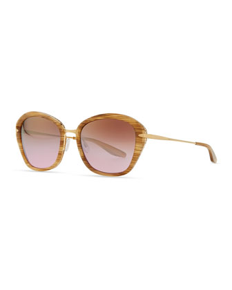 Farrow with Hornlike Stiations Acetate & Metal Butterfly Sunglasses, Horn