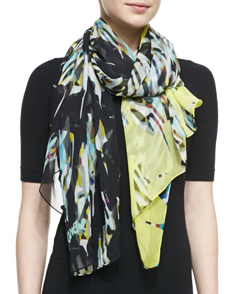 Floral Stained Glass Silk Scarf, Yellow/Black